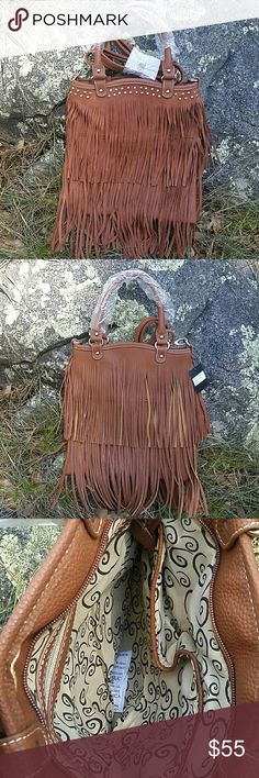 """🆕Boho Fringe Golore Purse Hip Finger handbag. Suede fringe on front, with textured fringe on back. Studs accent across the top front.  Suede & faux leather. 13"""" tall, 11"""" wide, 3/4"""" deep. 16"""" handles, 51"""" adjustable shoulder strap. Zipper pocket on inside back, 2 open pockets on inside front. Also available in Black in another listing. Cleto  Bags Crossbody Bags"""