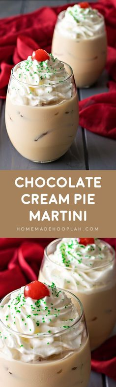 Chocolate Cream Pie Martini! If you love the cream pie, this drink is for you! A rich chocolate martini with whipped topping and just enough boozy burn to warm up your holiday. | HomemadeHooplah.com