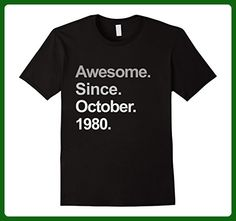 Mens Awesome Since October 1980 Shirt 37th Birthday Gifts TShirt 3XL Black - Birthday shirts (*Amazon Partner-Link)