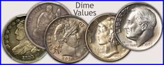 Visit... Dime Values for Bust, Seated Liberty, Barber and Mercury Dimes Old Coins Worth Money, Old Money, Silver Dimes, Silver Coins, Coin Collection Value, How To Clean Coins, Rare Coin Values, Silver Value, Penny Values