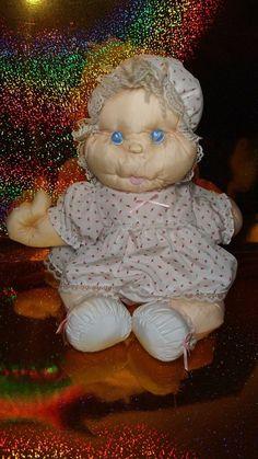 Vintage Marchon Baby Doll Plush Babygirl Stuffed Creepy Nylon Puffalump Style  #Marchon #creepy #creepydoll #puffalump Misfit Toys, Creepy Dolls, Creepy Cute, Baby Dolls, Plush, Teddy Bear, Christmas Ornaments, Holiday Decor, Animals