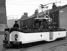 An open and single story of transport services Blackpool in Lancashire, England, in 1934. This tram network dates back to 1885 and is one of the oldest electric tram networks in the world tram.
