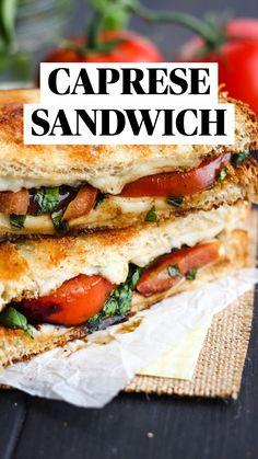 Vegetarian Sandwich Recipes, Chicken Sandwich Recipes, Healthy Sandwiches, Healthy Low Carb Recipes, Healthy Panini Recipes, Sandwiches For Dinner, Grilled Cheese Recipes Easy, Vegetarian Panini, Caprese Sandwich Recipe