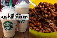 Cuckoo for Starbucks Secret Menu Cocoa Puffs Frappuccino! Order by recipe here: Starbucks Hacks, Starbucks Secret Menu Drinks, Starbucks Recipes, Frappuccino Recipe, Starbucks Frappuccino, Yummy Drinks, Yummy Food, Fruit Drinks, Refreshing Drinks