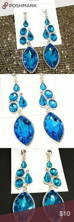 Beautiful Crystal Earrings Turquoise 💖Brand new item! 💖Used to have a fashion store at the mall, 💋💄👓💍⌚but recently decided to go back to college 🏩to get my Nursing degree 🎓so now I just sell from home. 🤗 Jewelry Earrings