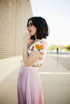 bbf44168cc239 Floral shirt  amp  soft pink maxi skirt Style Feminin