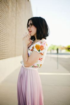 Floral shirt & soft pink maxi skirt