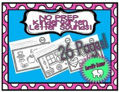 NO PREP Kindergarten Learn Letter Sounds Simply print and use! Absolutely NO PREP needed! This set includes 26 ready-to-use worksheets that focus on letter sounds! These are great for introducing letter sounds! They could even be perfect for Kindergarten Learning, Teaching, Early Finishers, Learning Letters, Letter Sounds, Morning Work, Literacy Centers, Homework, Kid Stuff