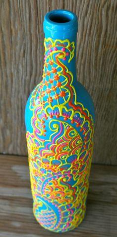 Hand Painted Wine bottle Vase, Turquoise bottle with sunshine yellow, orange and pink accents, Vibrant Henna style design