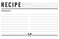 Free Recipe Card Templates For Word Alluring Recipe Card Blank  Recipe Cardscookbook  Pinterest  Recipe Cards