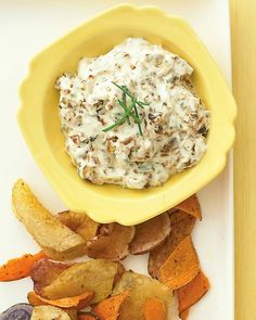 Sweet Onion Dip  -  1 tablespoon olive oil  -   2 Vidalia onions (1 pound total), finely chopped and cooked  -    Coarse salt and ground pepper  -      1 cup reduced-fat sour cream  -  2 ounces reduced-fat bar cream cheese, room temperature  -  1 1/2 teaspoons white-wine vinegar  -      1/4 cup finely chopped chives  - Potato chips, for serving
