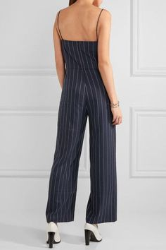 GANNI - Oakwood Striped Twill Jumpsuit - Midnight blue