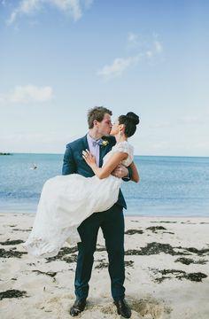beachside wedding portrait, photo by Love Katie + Sarah http://ruffledblog.com/bellarine-peninsula-wedding #wedding #portrait