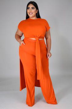 "GT40251 X Style GT40251 X MODEL STATS Height: 5.6""Bust:45"" / Waist:36"" / Hips:52"" Classy Outfits, Classy Clothes, Fashion Walk, Orange Fashion, Orange Dress, Wide Leg Trousers, Long Pants, Plus Size Women, Plus Size Outfits"