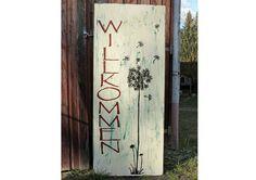 Gartendekoration - Holzschild : Willkommen XXL - ein Designerstück von Linda-Thom-Lillis-Handcraft bei DaWanda