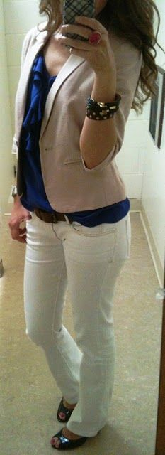 White jeans+blue top+tan blazer