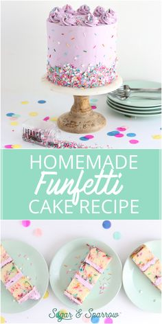 The best homemade funfetti cake recipe + my recommendations for sprinkles that w. - The best homemade funfetti cake recipe + my recommendations for sprinkles that will hold their colo - Funfetti Kuchen, Funfetti Cake, Oreo Cake, Cake Recipes From Scratch, Easy Cake Recipes, Dessert Recipes, Pastel Funfetti, Beautiful Cakes, Amazing Cakes