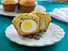 A little weird, but compelling :: The entertaining experts at HGTV.com share an easy recipe for cheddar chive muffins with a hard-boiled egg tucked inside.