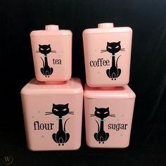 Pink Turquoise Black Cottage •~• revamped vintage cat kitchen canister set