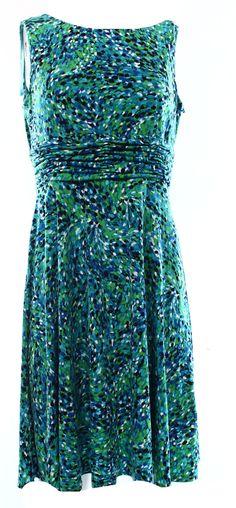 Jessica Howard NEW Green Dotted Print Women's 10P Petite Sheath Dress $69