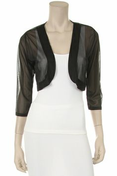 aa633735e4c Black Sheer Bolero Chiffon 3 4 Length Black Chiffon Bolero Jacket