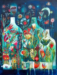 An size print of an Este MacLeod Painting. A little bit mysterious, a little bit magical. find the hidden animals, look closely. Art And Illustration, Illustrations, Guache, Fantasy Paintings, Arte Floral, Whimsical Art, Art Plastique, Oeuvre D'art, Painting Inspiration