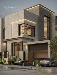 Modern arabian style on behance Classic House Exterior, Modern Exterior House Designs, Classic House Design, Modern House Facades, Modern Villa Design, Bungalow House Design, Dream House Exterior, Modern Bungalow Exterior, Best Modern House Design