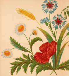 Wildflower design for embroidery from Art needlework. A complete manual of embroidery in silks and crewels, with full instructions as to stitches, materials, and implements. Containing also a large number of original designs and a handsome coloured design for crewel work (1882).Download in epub, kindle or pdf format here: https://archive.org/details/artneedleworkcom00unse