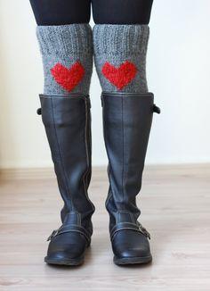 SALE for TODAY Heart Knit Boot Cuffs Love Heart Leg by SENNURSASA