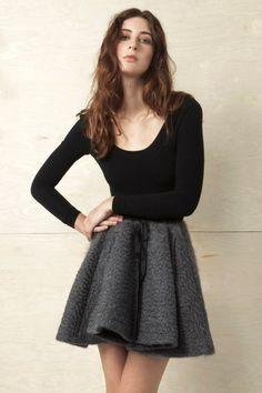 Grey Mohair Wool Skirt