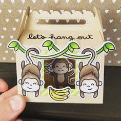 Cute little shadow box with these adorable monkeys from #lawnfawn and #ellenhutsonllc