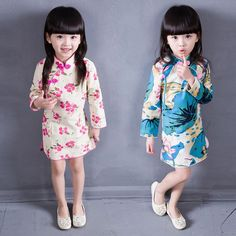 New Kids Girl Cheongsam Chinese Traditional Dress Long Sleeve Floral Clothes
