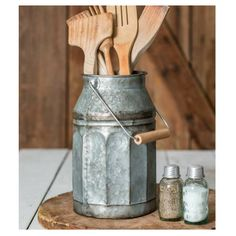 Galvanized Milk Pail with Handle -  Our Galvanized Milk Pail is a versatile accent piece for your farmhouse decor. Use it as a utensil caddy. Or add some dried or silk flowers to make a quaint centerpiece.