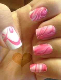 Breast cancer awareness pink and white marble tie dye nails