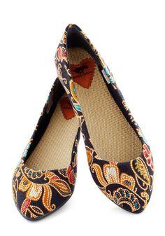 ModCloth Modsters of Folk Flat Cute Shoes, Me Too Shoes, Jimmy Choo, Prada, Christian Louboutin, Gucci, Chanel, Fresh Shoes, Blue Flats
