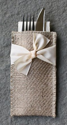 Hand-Tied Ribbon Burlap Silverware Pouch - Set of 8