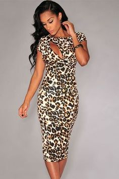 Her Fashion Sexy Hollow-out Chest Short Sleeves Leopard Midi Dress ❤ 'Add this one to your wishlist! Leopard Fashion, Animal Print Fashion, Animal Print Dresses, Fashion Prints, Animal Prints, Sexy Dresses, Cute Dresses, Fashion Dresses, Cute Outfits