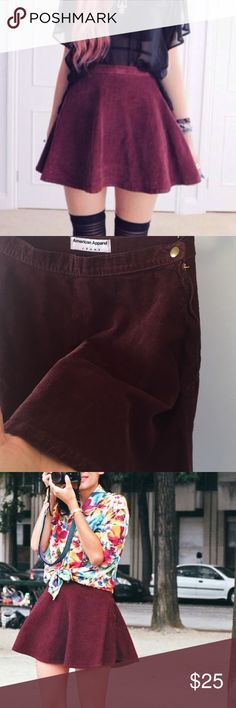 American Apparel Corduroy Circle skirt American Apparel Maroon corduroy circle skirt. size small in great preloved condition. Side zipper and snap button. Does not longer fit me :/ American Apparel Skirts Circle & Skater