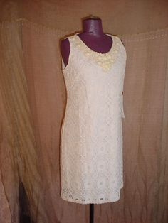 Ronni Nicole Sleeveless Dress Ivory size 12  Lace with Beads NEW NWT Formal #RonniNicole #Sheath #Formal