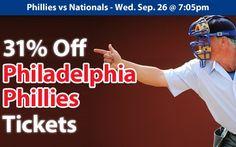 31% off Philadelphia Phillies Tickets vs. Washington Nationals Wed. Sep. 26 @ 7:05pm