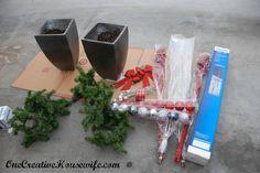 One Creative Housewife: My Outdoor Christmas Decorations Christmas Urns, Christmas Planters, Christmas Yard Decorations, Rustic Christmas, Christmas Holidays, Christmas Crafts, Christmas Ornaments, Christmas Ideas, Outdoor Decorations
