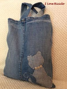 shopper jeans con gatto