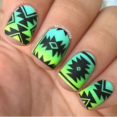 Tribal print nail art over a gradient base with matte topcoat