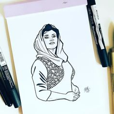 #inktober Day 18: Benazir Bhutto  Benazir Bhutto was a Pakistani politician who became the first female prime minister of a Muslim country in 1988. Bhutto was a controversial figure often criticised as being inexperienced and corrupt while her career influenced a number of activists. After her two terms of office and an exile in London she returned to Pakistan in 2007 to participate in the general election but was killed by a suicide bomber.     #inktober #inktober2017 #ink #drawing… Wonder Women, Activists, Women In History, Muslim Women, Prime Minister, Inktober, Pakistani, Career, Number