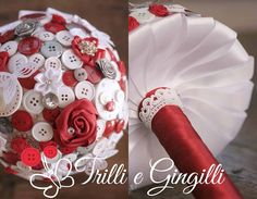 Bouquet di bottoni color bianco e rosso. Alternative bouquet with buttons red and white. #bouquet #wedding