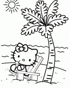 Coloring Pages Of Hello Kitty On Beach