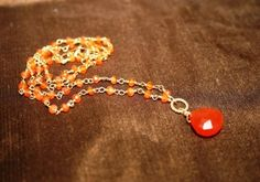 Carnelian rosary style necklace with carnelian by BrioBaubles, $48.00