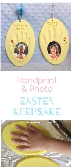 Handprint & Photo Easter Keepsake is part of Thanksgiving crafts Easter Eggs - Handprint & Photo Easter Keepsake, a great keepsake idea to do with the kids, perfect for Easter! Fun Diy Crafts, Baby Crafts, Toddler Crafts, Crafts Toddlers, Decor Crafts, Paper Crafts, Easter Projects, Easter Crafts For Kids, Easter With Kids