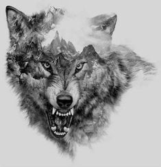 Cool Snarling Wolf Tattoo Design - Great black and gray snarling wolf with mountains inside. Wolf Tattoo Design, Wolf Sketch Tattoo, Wolf Tattoo Sleeve, Tattoo Drawings, Body Art Tattoos, New Tattoos, Sleeve Tattoos, Tattoos For Guys, Tattoo Designs