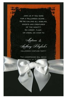 Eerie Grunge Frame Black & Orange with White Bow #ribbon #bow #grunge #halloween #fall #autumn #party #event #invite #invitation #invitationbox #design #interesting #pinterest #scary #spooky